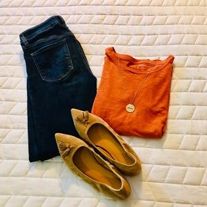 Madewell Burnt Orange Long Sleeve Shirt Size Small